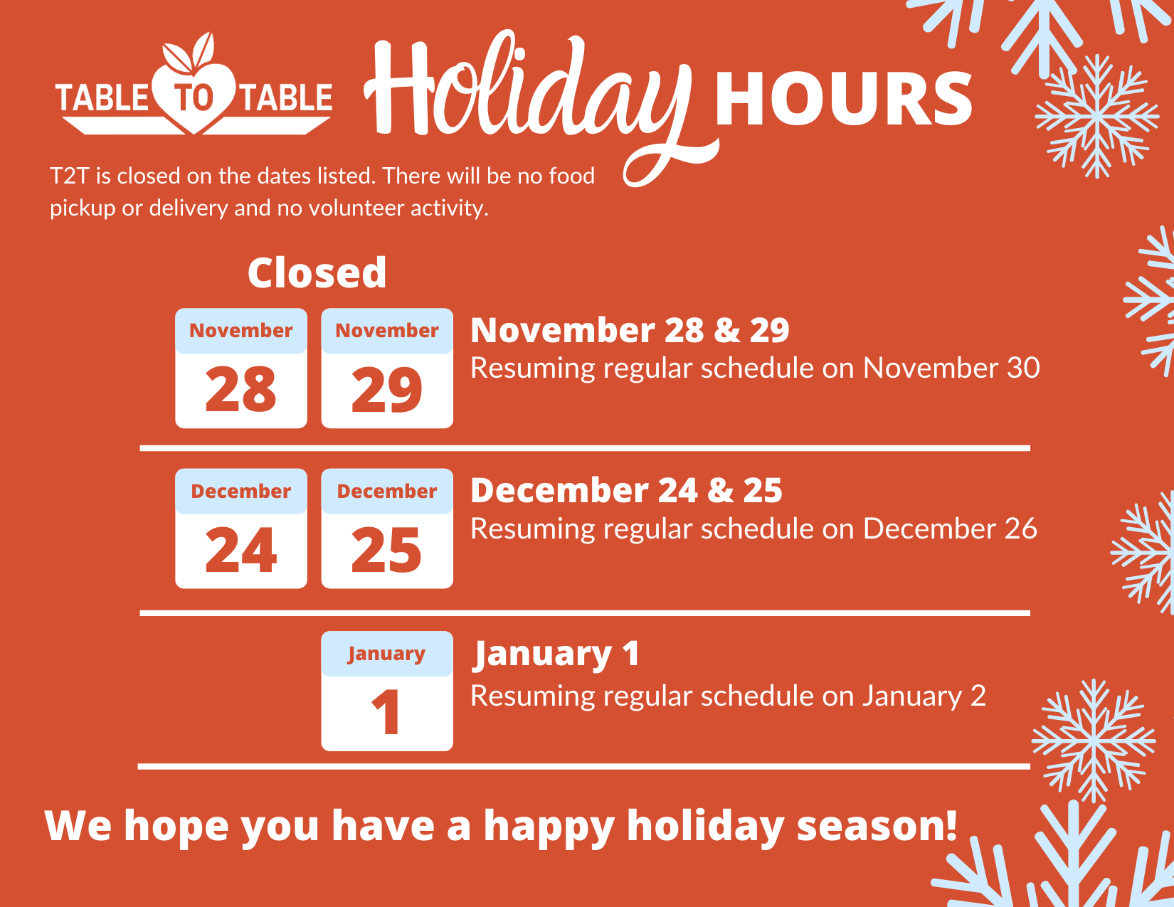 T2T Holiday Hours (1)