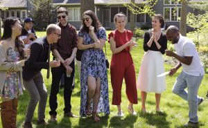 The University of Iowa's Nonfiction Writing Program's 2019 graduates celebrate during a garden party hosted by faculty member Bonnie Sunstein at her home in Iowa City, Iowa. (Bradley S. Pines) ALL rights available to NWP 2019 class.