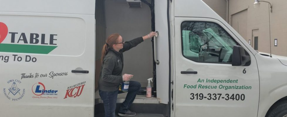 Volunteer cleans vans