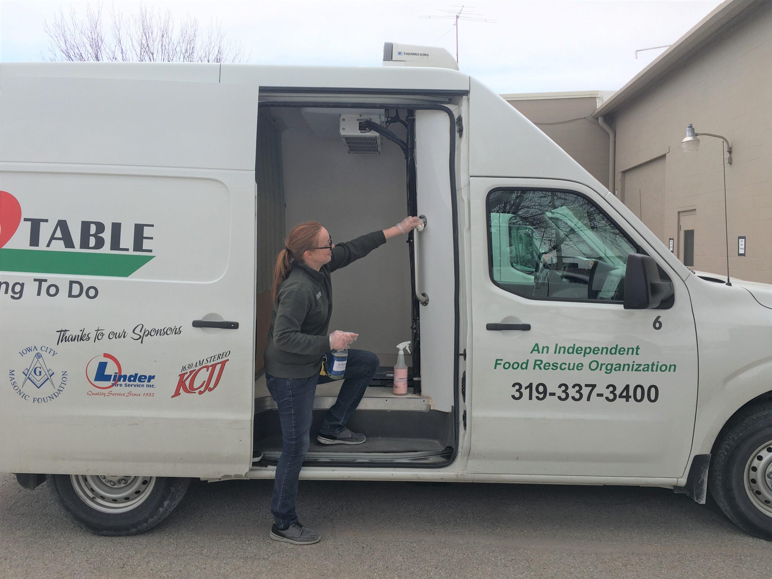 Volunteer cleans vans