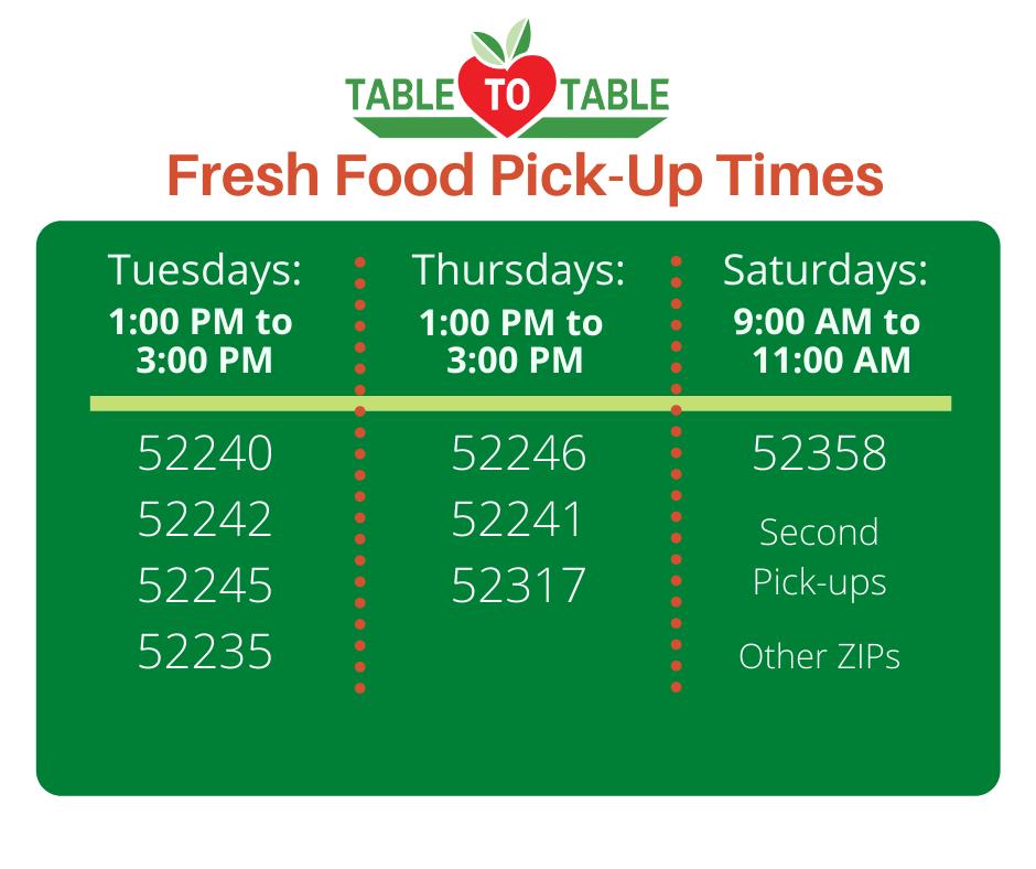 Fresh Food Pick Up Schedule
