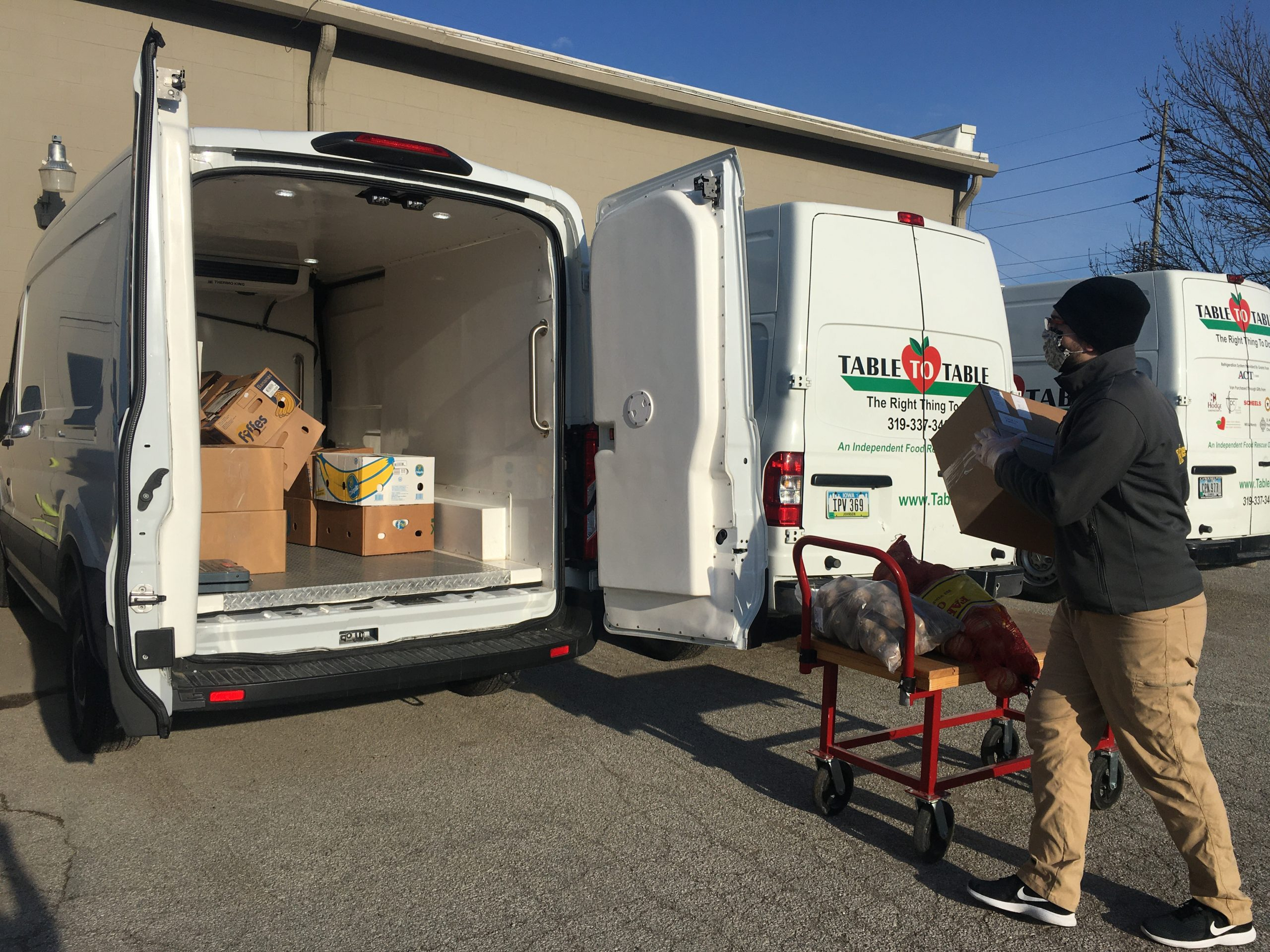 Loading van with produce