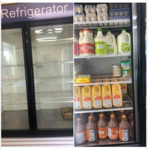 Monday's empty and Tuesday's fully stocked coolers at North Liberty Community Pantry