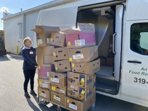 Nancy with so many food boxes