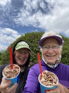 Nancy and Mary enjoy their post-route DQ Blizzards